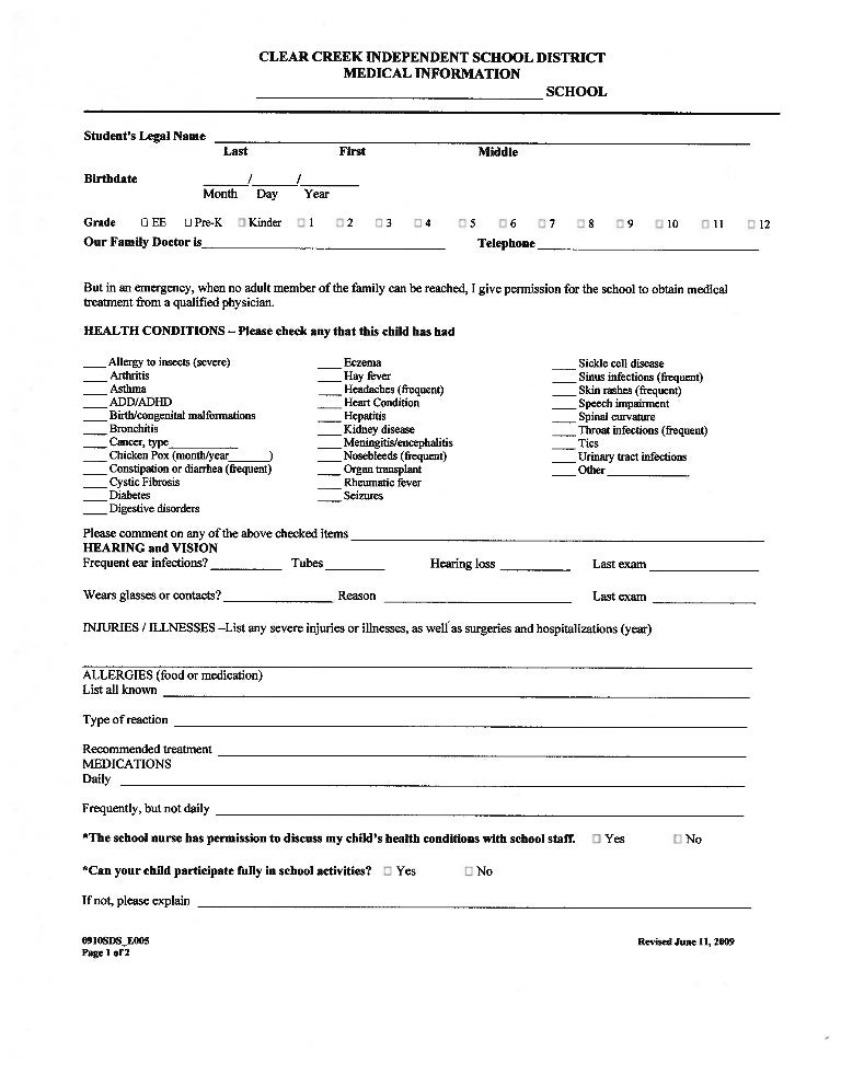 Medical Form, English, 09 10