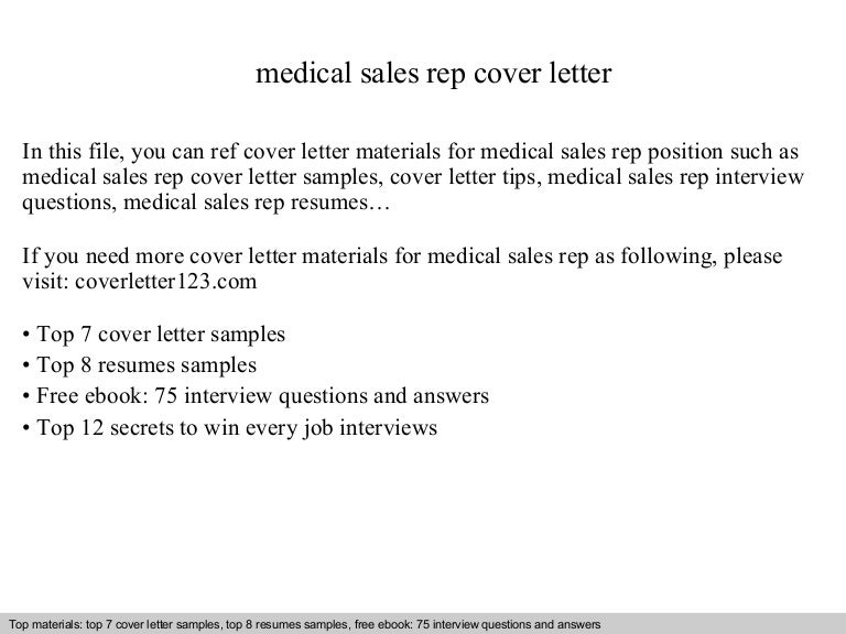 medical sales rep cover letter - Sample Medical Sales Cover Letter