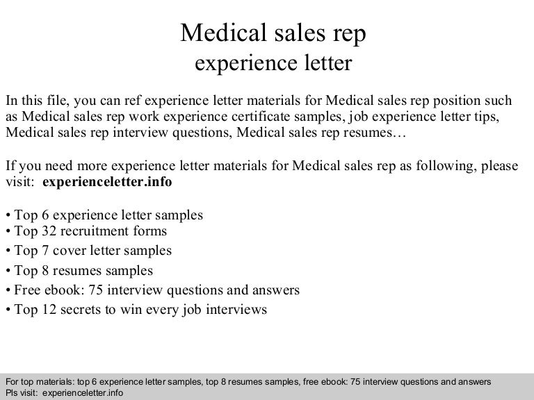 medicalsalesrepexperienceletter 140827034530 phpapp01 thumbnail 4jpgcb1409111152 - Cover Letter For Medical Sales Representative