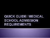 Quick Guide: Medical School Admission Requirements