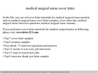 Stunning Medical Surgical Nurse Cover Letter Contemporary ...