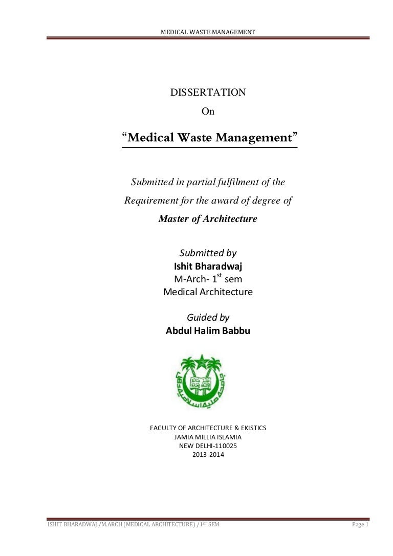 medical waste management report