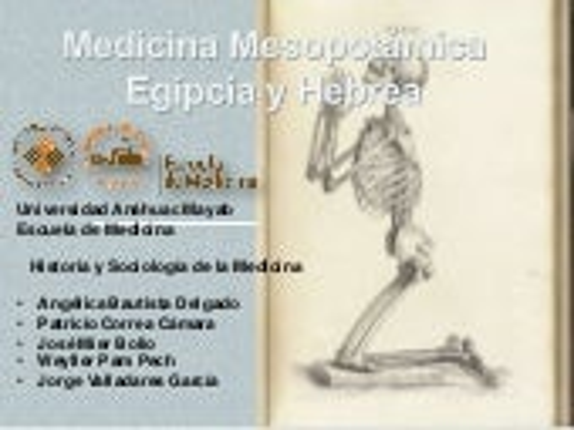 Medicina mesopotámica, egipcia y hebrea