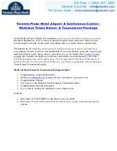Toronto Plaza Hotel Airport & Conference Centre – Medieval Times Dinner &   Tournament Package