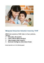 MEdSI (Malaysian Educators Selection Inventory TEST) Guide & Sample