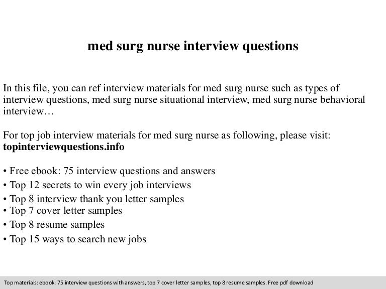 med surg nurse interview questions - Sample Resume Objectives For Nurses