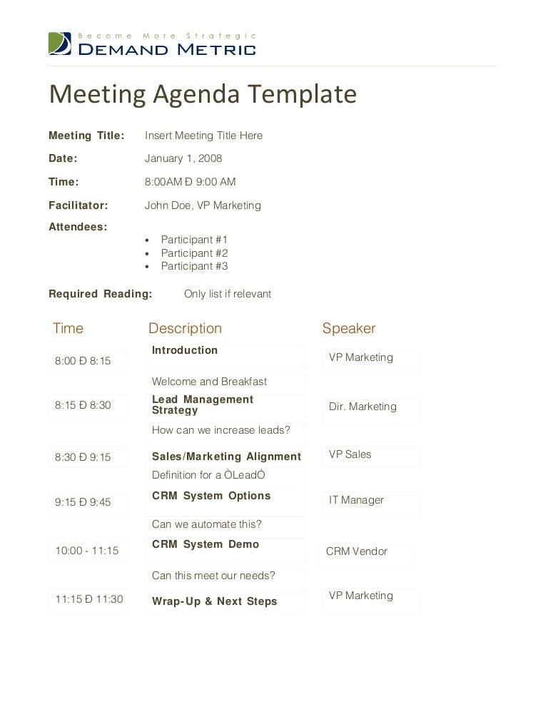 meeting agenda sample template