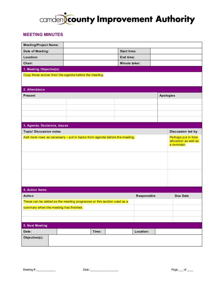 SlideShare  Meeting Minutes Agenda Template