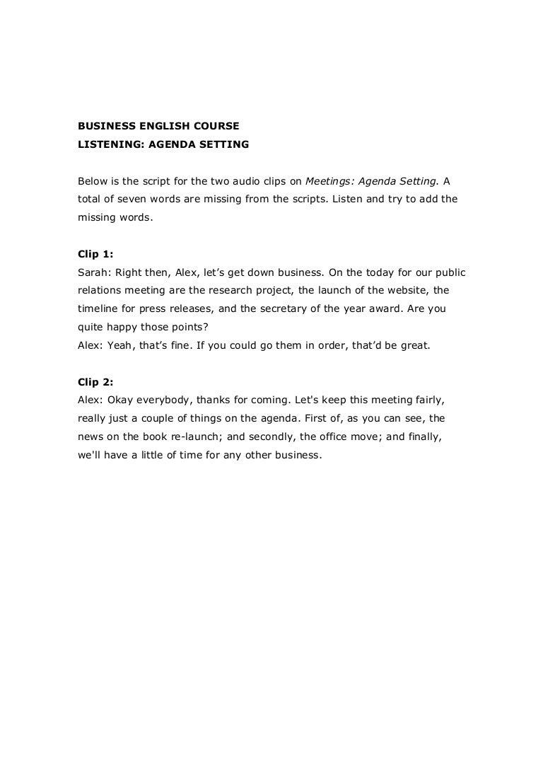 meetings agenda setting worksheet