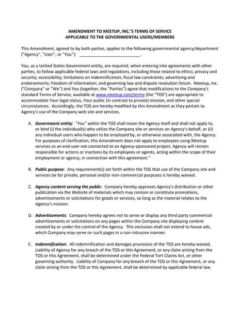 MeetUp Terms of Service (TOS) Amendment