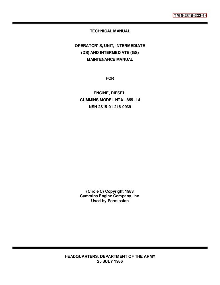work shop manaul cummins model nta 855 l4 rh slideshare net Instruction Manual Cummins Cummins Engine Manual