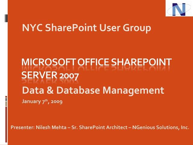 Mehta - SharePoint Data And Database Management