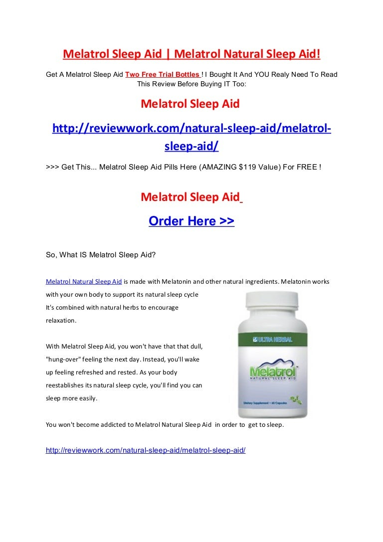 Melatrol Natural Sleep Aid Two Months Free