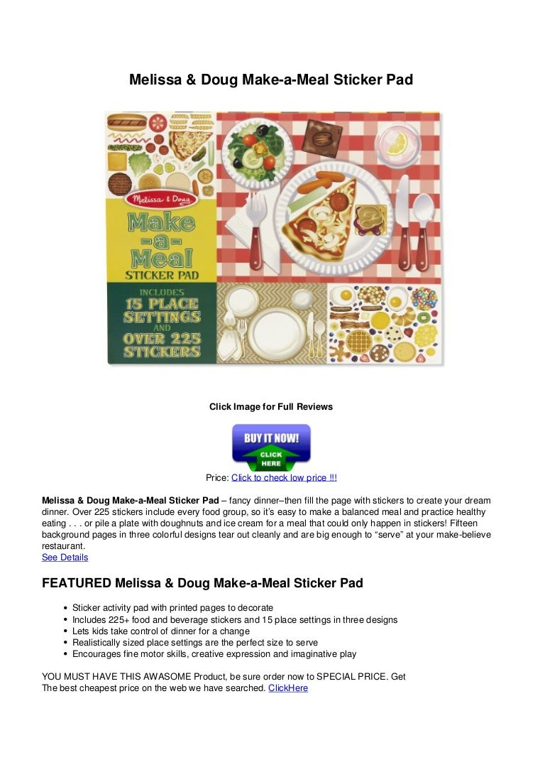 Food Stickers Brand New Melissa /& Doug Sticker Pad Make-a-Meal 225
