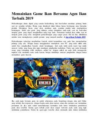 Memainkan game ikan bersama agen ikan terbaik 2019