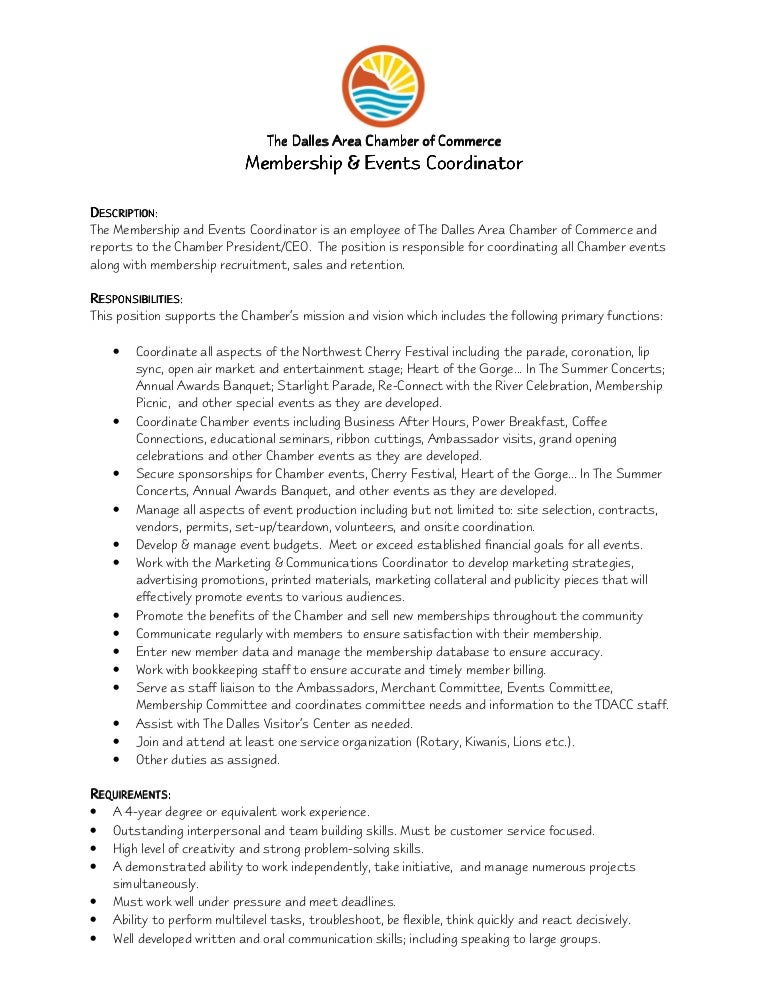 Membership & Events Coordinator Job Description