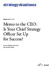 Memo to the CEO: Is Your Chief Strategy Officer Set Up for Success?