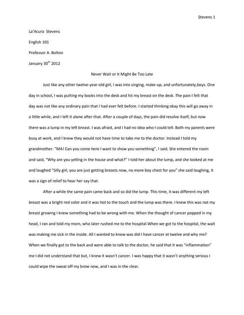 Memoir essay 1