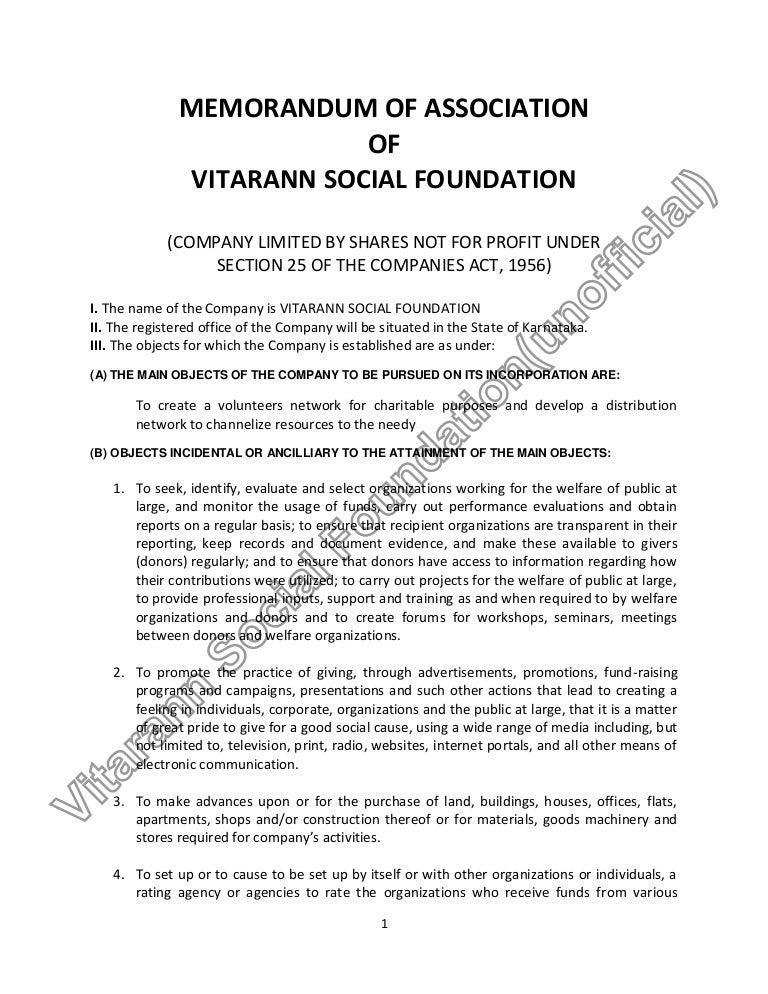 Vitarann Social Foundation Memorandum Of Association