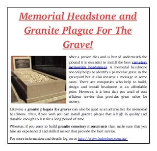 memorial headstone and granite plague for the grave
