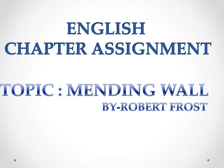 mending wall by robert frost