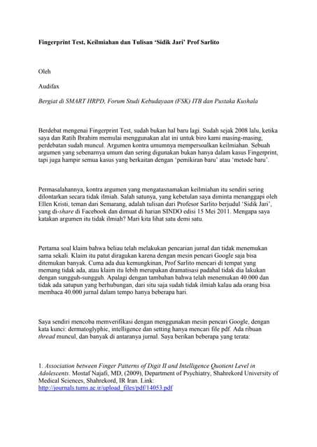 Mengkounter Tulisan Fingerprint Test, Keilmiahan prof Sarlito by Audifax