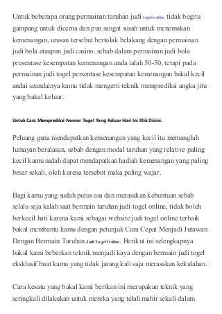 agen dan bandar taruhan judi togel toto online indonesia selebtoto