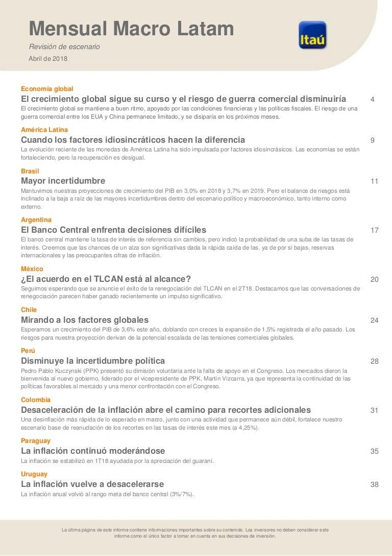 Informe Mensual Macro Itaú - Latam_abr18