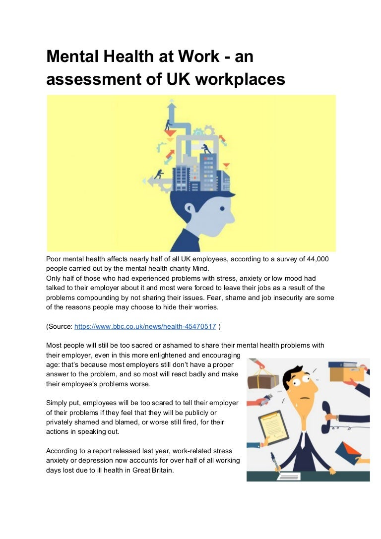 Mental Health At Work An Assessment Of Uk Workplaces