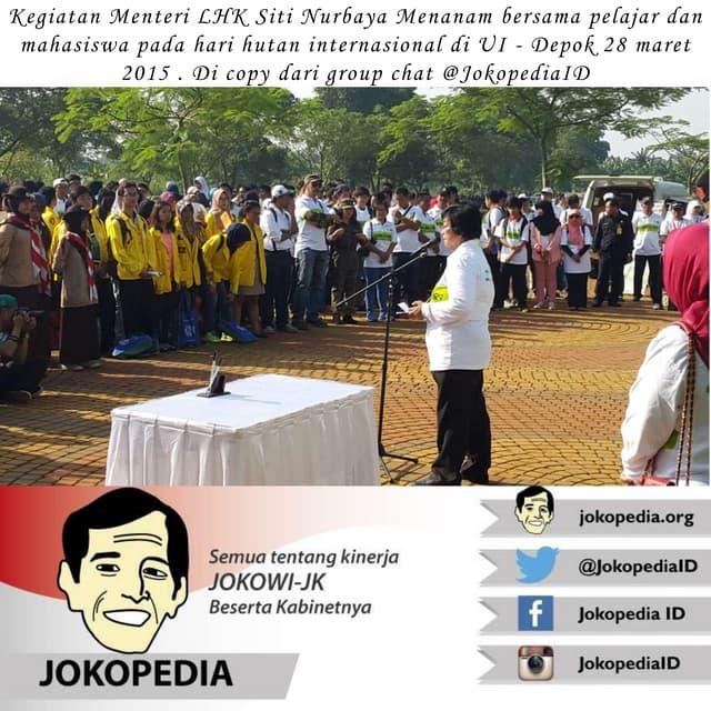 Kliping kegiatan Menteri sitinurbaya Bakar dari group chat @JokopediaID