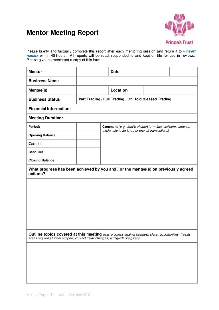 Mentor meeting report template fbccfo Image collections