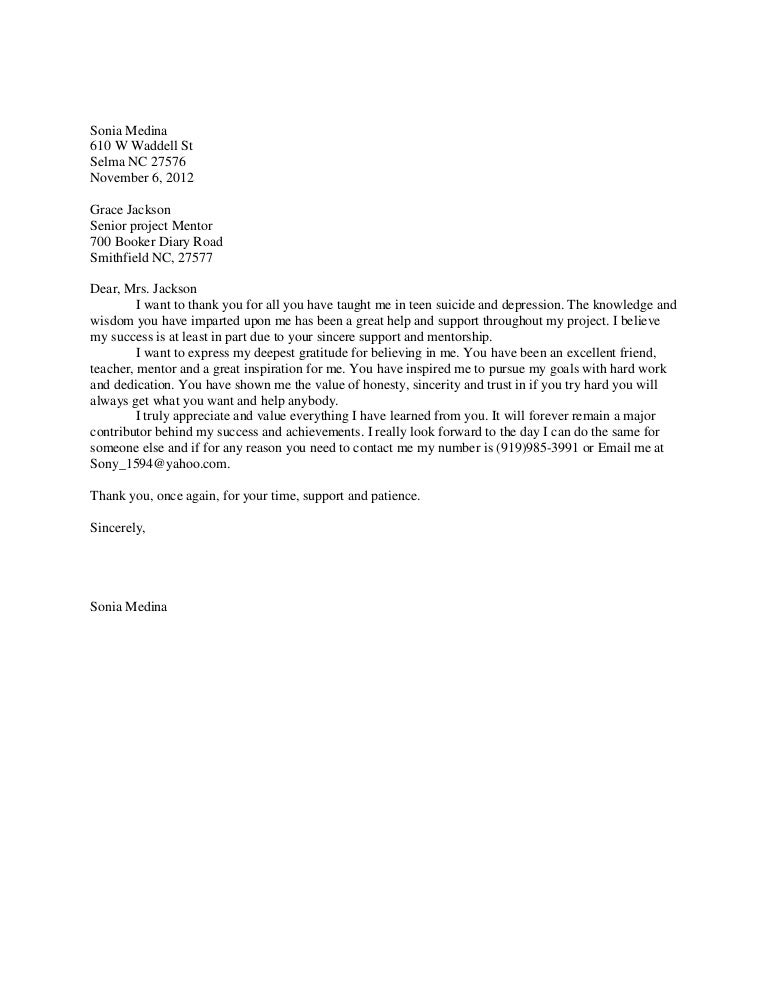 Mentor thank you letter – Thank You Letter to Mentor