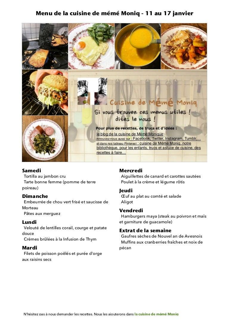Image De Plat De Cuisine menu de la cuisine de meme moniq 11 au 17 janvier