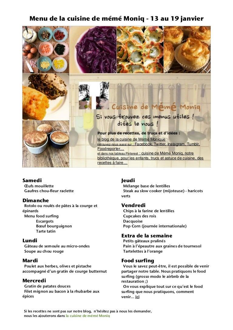 Que Faire Des Fleurs De Rhubarbe menu de la cuisine de meme moniq 13 au 19 janvier