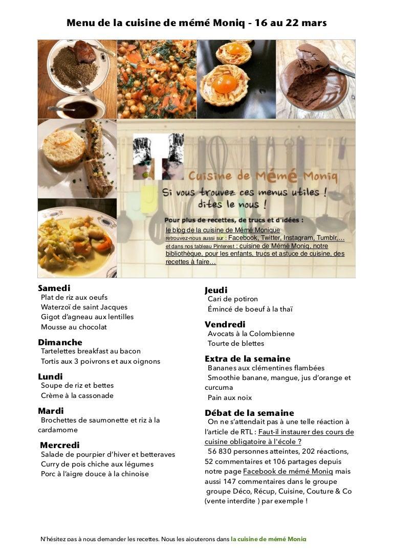 Menu de la cuisine de meme moniq 18 au 18 mars