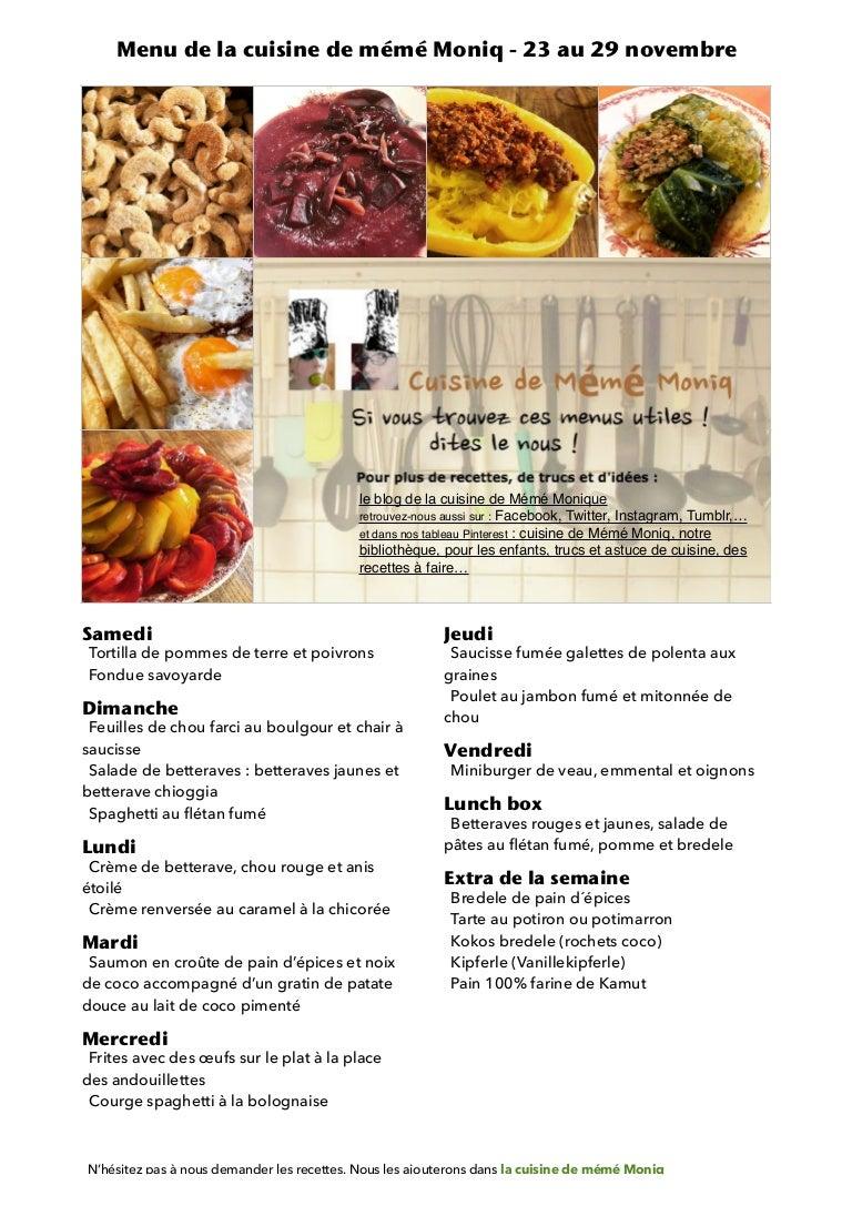 Menu De La Cuisine De Meme Moniq 23 Au 29 Novembre