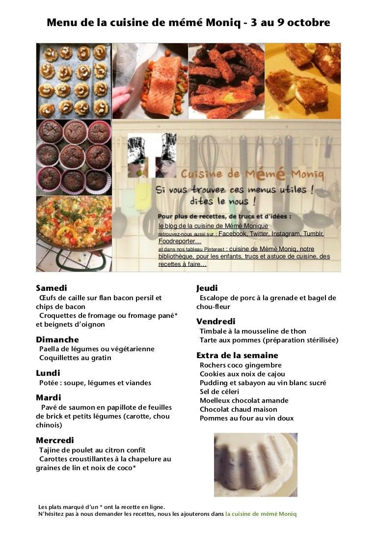 Menu De La Cuisine De Meme Moniq 3 Au 9 Oct