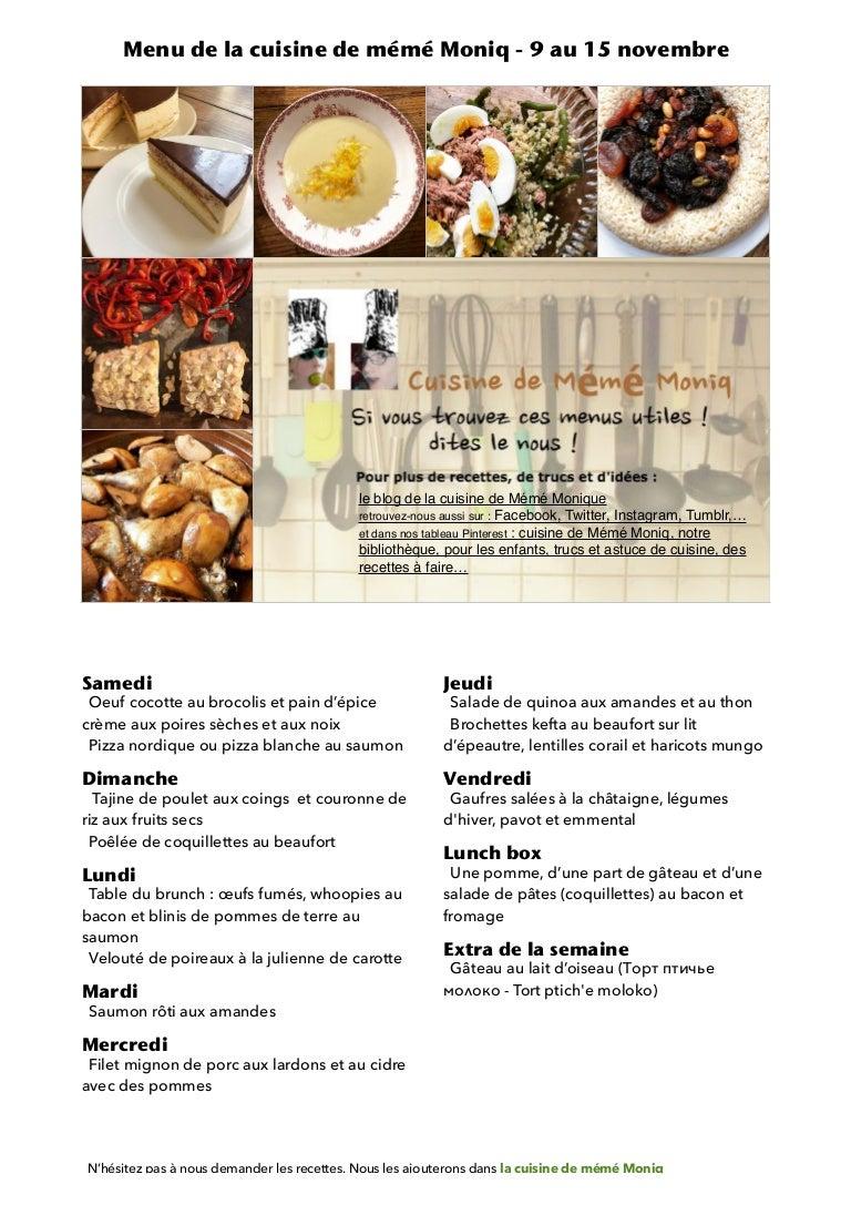 Menu De La Cuisine De Meme Moniq 9 Au 15 Novembre