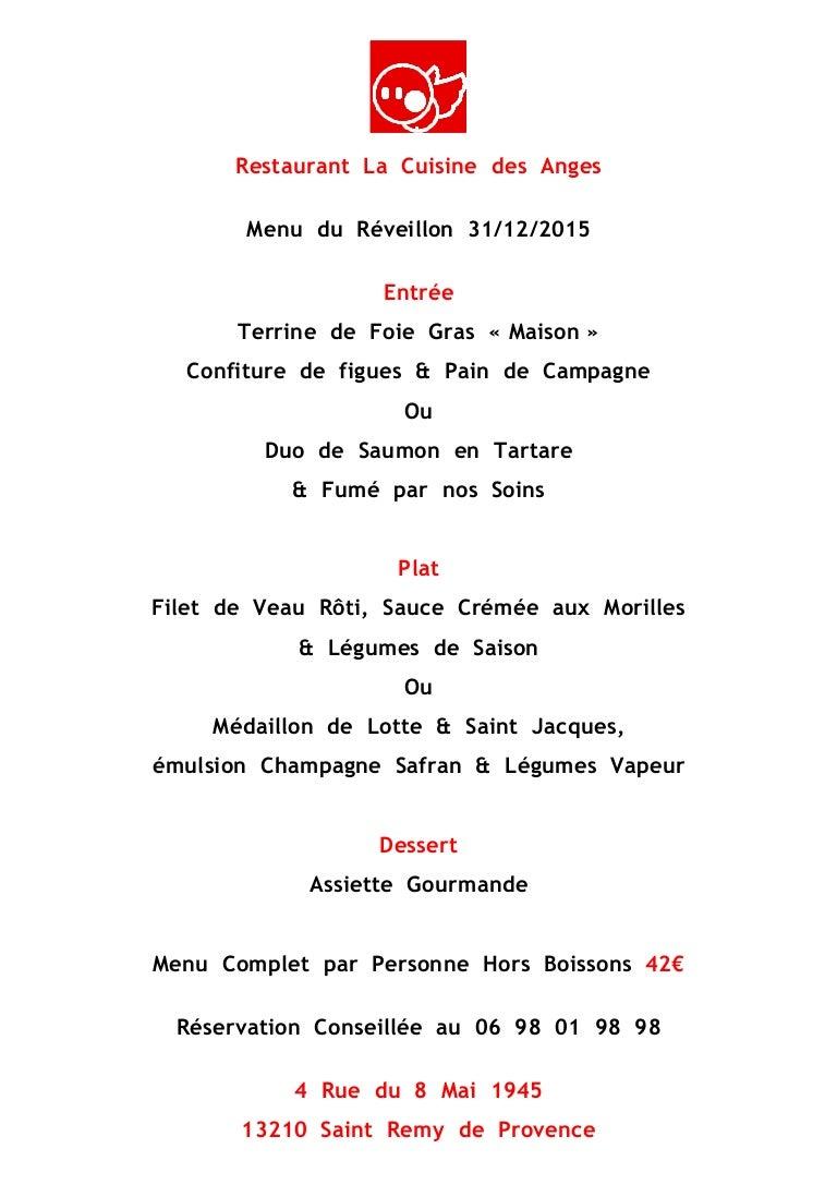 Plan De Maison Mas De Provence menu réveillon cuisine des anges saint rémy de provence