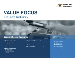 Mercer Capital's Value Focus: FinTech Industry - Q3 2014 - Segment: Payments