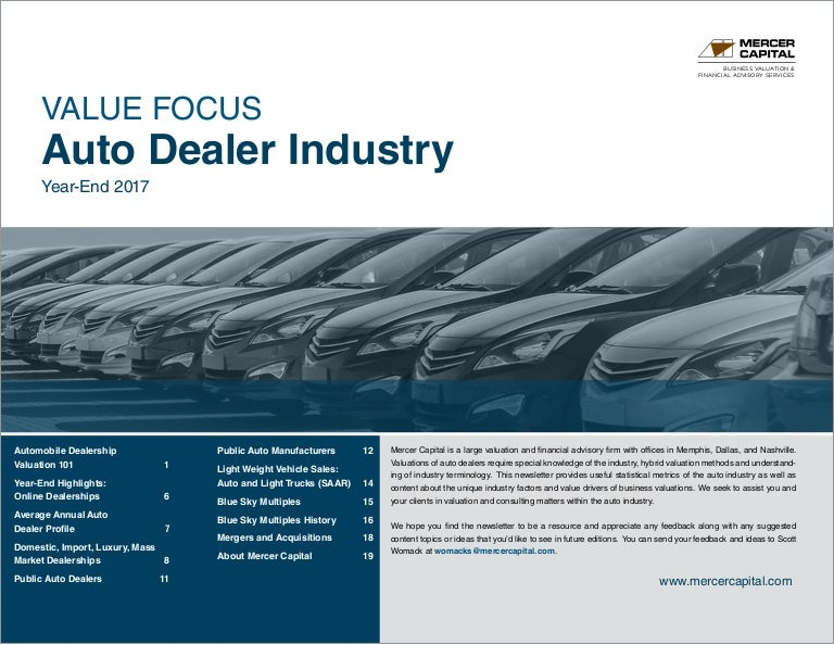 Womack Auto Sales >> Mercer Capital S Value Focus Auto Dealer Industry Year