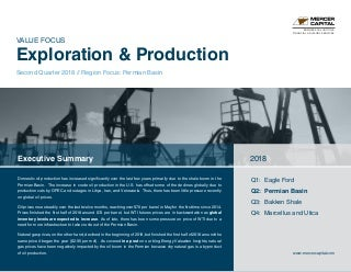 Mercer Capital's Value Focus: Exploration and Production - Q2 2018 - Segment: Permian Basin
