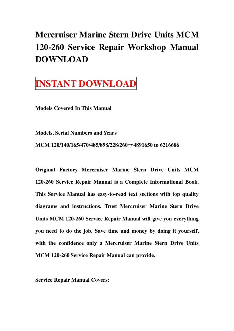 mercruiser marine stern drive units mcm 120 260 service repair worksh rh slideshare net Auto Repair Manual HP Owner Manuals
