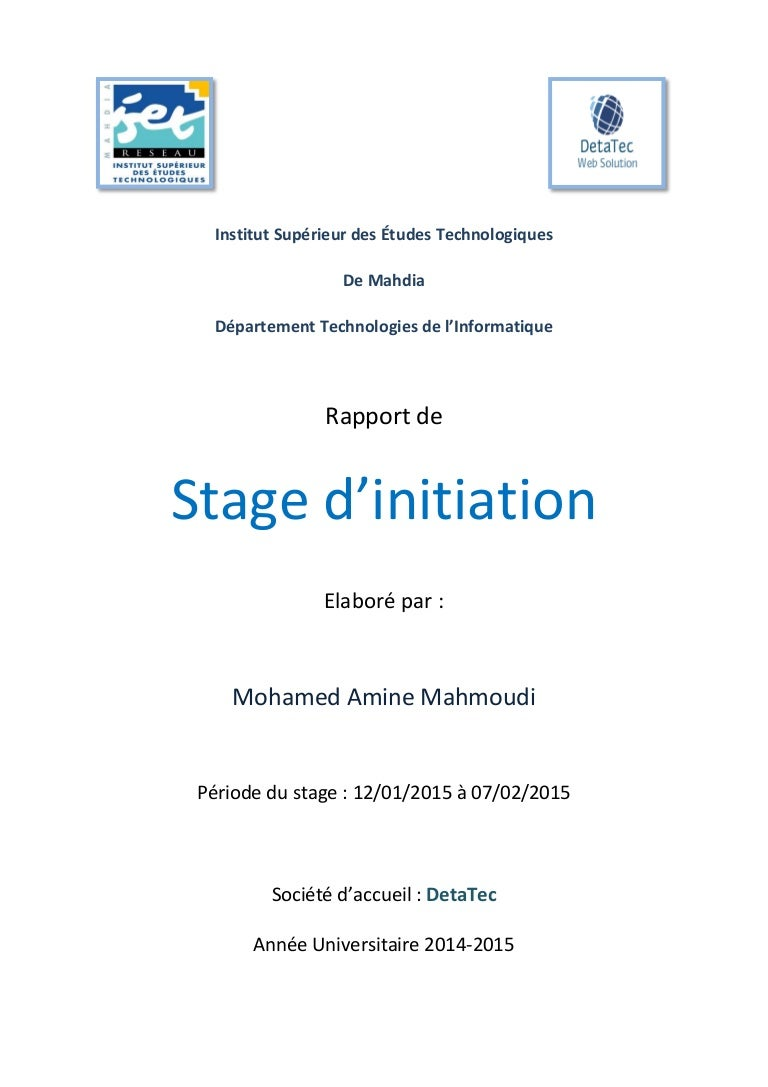 Rapport De Stage D Initiation 2015 Mahmoudi Mohamed Amine