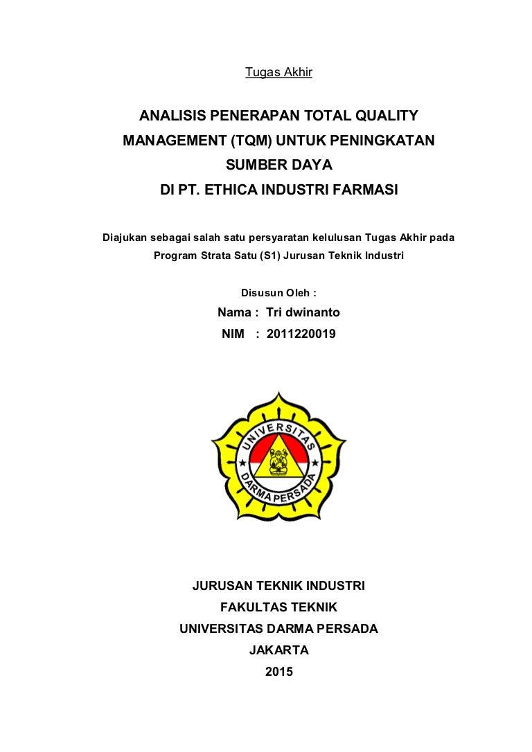 Analisis Penerapan Total Quality Management Tqm Untuk Peningkatan S