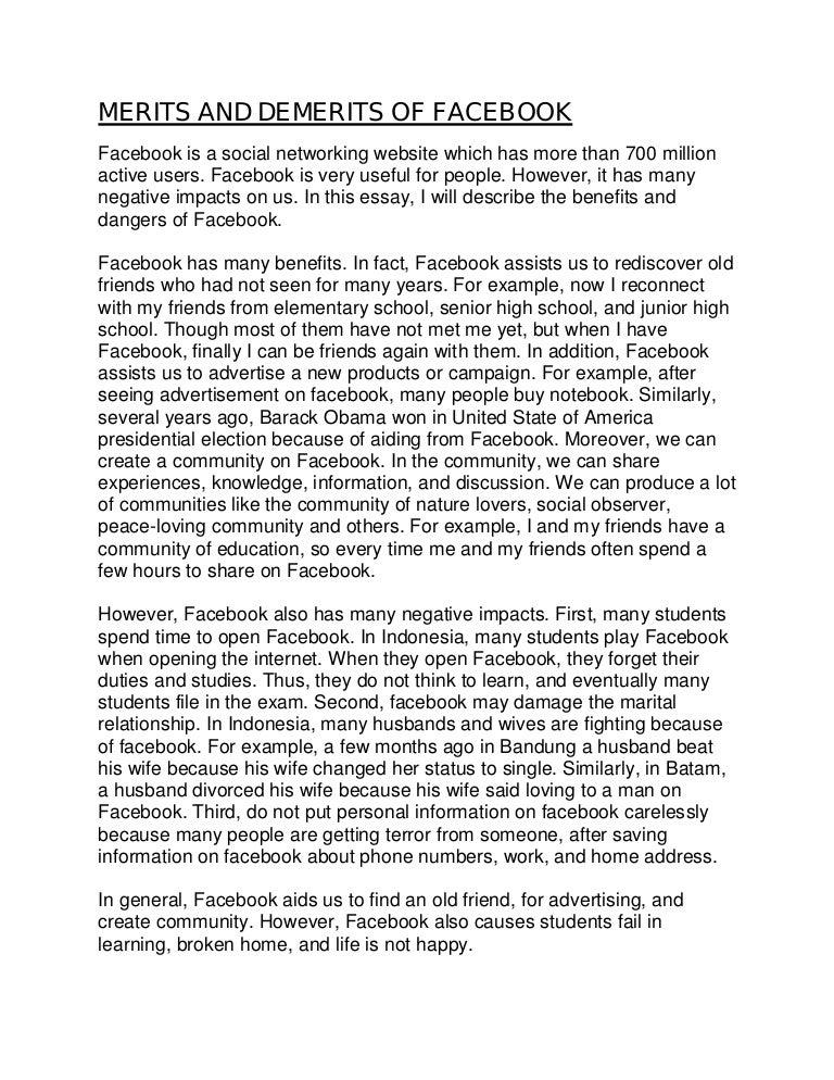 Argumentative essay of facebook