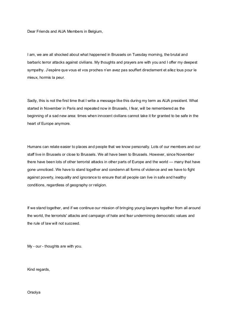 Message de solidarité de l'aija