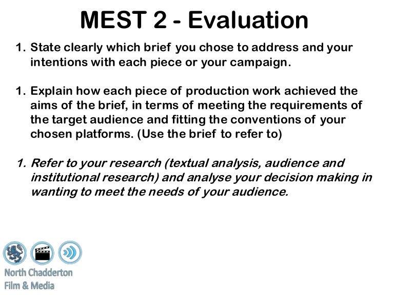 mest 2 media coursework evaluation