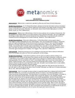 Metanomics Transcript March 17 2010
