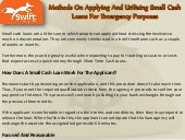 Methods on applying and utilizing small cash loans for emergency purposes